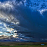 Storm Clouds Over Farmland #2 - Iceland Art Print