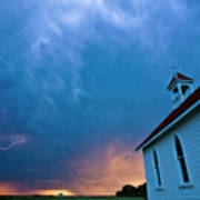 Storm Clouds Over Saskatchewan Country Church Art Print