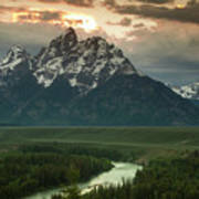 Storm Clouds Over The Tetons Print by Andrew Soundarajan