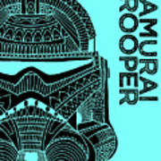 Stormtrooper Helmet - Blue - Star Wars Art Art Print