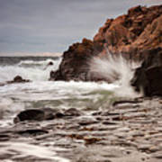 Stormy Beach Waves Art Print