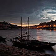 Stormy Evening Sky Above Porto And Gaia Art Print