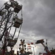 Stormy Ferris Wheel Art Print