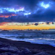 Stormy Icelandic Sunset Art Print