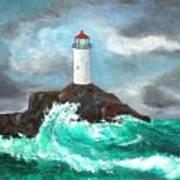 Stormy Ligthouse Art Print