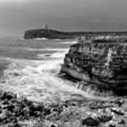 stormy sea - Slow waves in a rocky coast black and white photo by pedro cardona Art Print