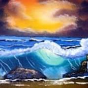 Stormy Sunset Shoreline Art Print