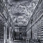 Strahov Monastery Philosophical Hall Bw Art Print