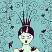 Strange Hairstyle And Flowery Swirls Art Print
