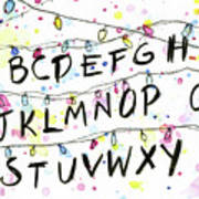 Stranger Things Alphabet Wall Christmas Lights Art Print