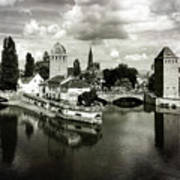 Strasbourg. View From The Barrage Vauban. Black And White Art Print