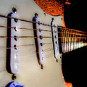 Stratocaster Pop Art Tangerine Sparkle Fire Neck Series Art Print