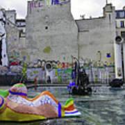 Stravinsky Fountain Near Centre Pompidou In Paris, France Art Print