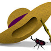 Straw Hat And Horn Beetle Art Print