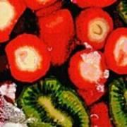 Strawberries And Kiwi Art Print