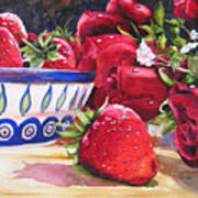 Strawberries And Roses Art Print