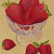 Strawberries In Crystal Dish Art Print