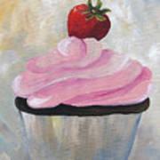 Strawberry Cupcake  Art Print