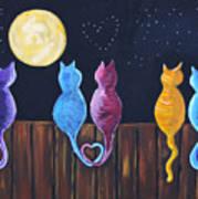 Stray Cats In Moonlight Art Print