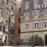 street and old buildings Corfu town Art Print