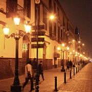 Street At Night, Lima Peru Art Print