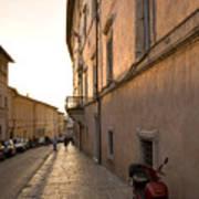 Street At Sundown In Assisi Art Print