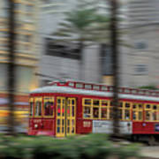 Street Car Flying Down Canal Art Print