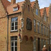 Street Corner In Bruges Belgium Art Print