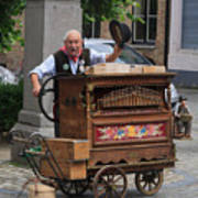 Street Entertainer In Bruges Belgium Art Print