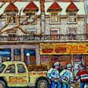 Street Hockey Pointe St Charles Winter  Hockey Scene Paul's Restaurant Quebec Art Carole Spandau     Art Print