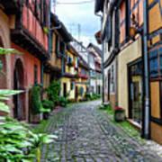 Street In Eguisheim, Alsace, France Art Print