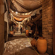 Street In Gothic District Of Barcelona At Night Art Print