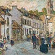 Street In Pont Aven Art Print by Childe Hassam