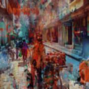 Street Of Nepal Colored  Art Print