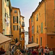 Street Scene In Villefranche Art Print