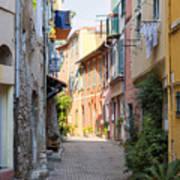 Street With Sunshine In Villefranche-sur-mer Art Print