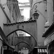 Streets Of Cannes 1 In Black And White Art Print