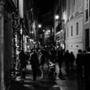 Streets Of Rome At Night  Art Print