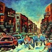 Streetscenes Of Montreal Hockey Paintings By Montreal Cityscene Specialist Carole Spandau Art Print