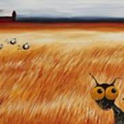 Stressie Cat And Crows In The Hay Fields Art Print