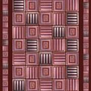 Striped Squares On A Brown Background Art Print