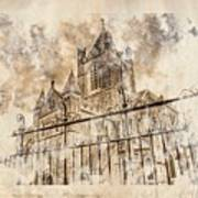 Stroked S.patrick Cathedral Art Print by Andrea Barbieri