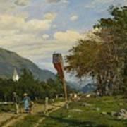 Strutzel, Otto 1855 Dessau - 1930   On The Way Home. In The Background The Steeple Of Garmisch-parte Art Print