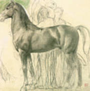 Study Of A Horse With Figures Art Print by Edgar Degas