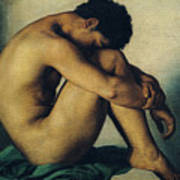 Study Of A Nude Young Man Print by Hippolyte Flandrin