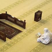Studying The Quran Art Print