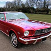Stunning 1966 Metallic Red Mustang Art Print