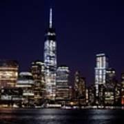 Stunning Nyc Skyline At Night Art Print
