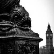 Sturgeon Lamp Post With Big Ben London Black And White Art Print