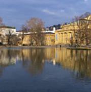 Stuttgart State Theater Beautiful Reflection In Blue Water Art Print